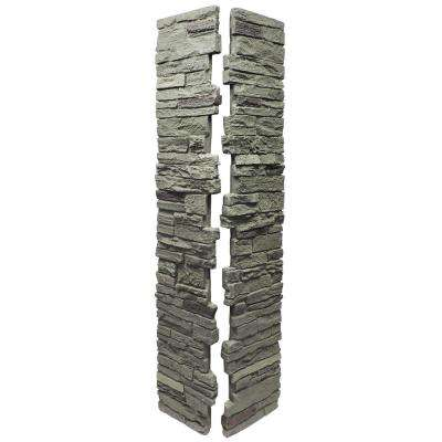 Slatestone Pewter 8 in. x 8 in. x 41 in. Faux Polyurethane Stone 2pc Post Cover