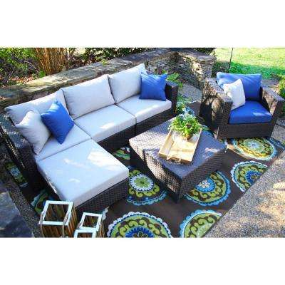 Biscayne 4-Piece All-Weather Wicker Patio Deep Seating Set with Sunbrella Cushions Blue