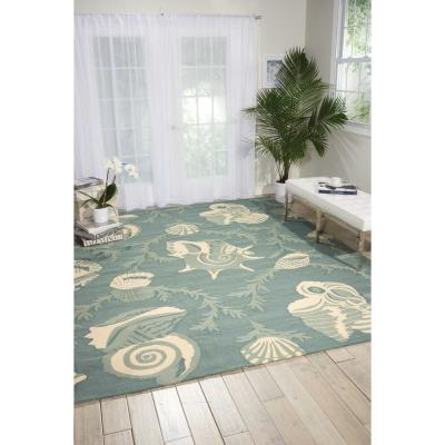 Portico Aqua 8 ft. x 11 ft. Geometric Modern Indoor/Outdoor Area Rug