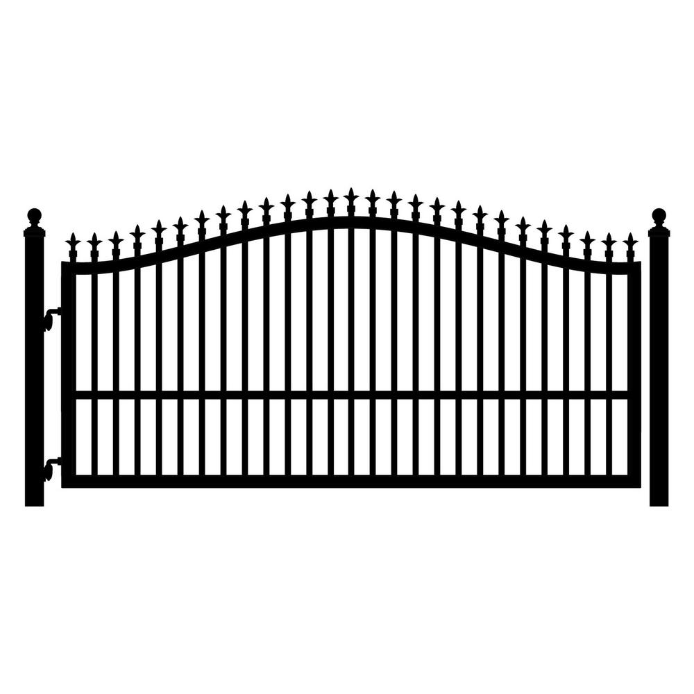 Mighty Mule St. Augustine 12 ft. W x 5 ft. H Powder Coated Steel Single Driveway Fence Gate