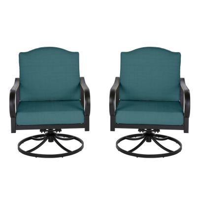 Laurel Oaks Brown Steel Outdoor Patio Lounge Chair with Cushion Guard Charleston Blue-Green Cushions (2-Pack)