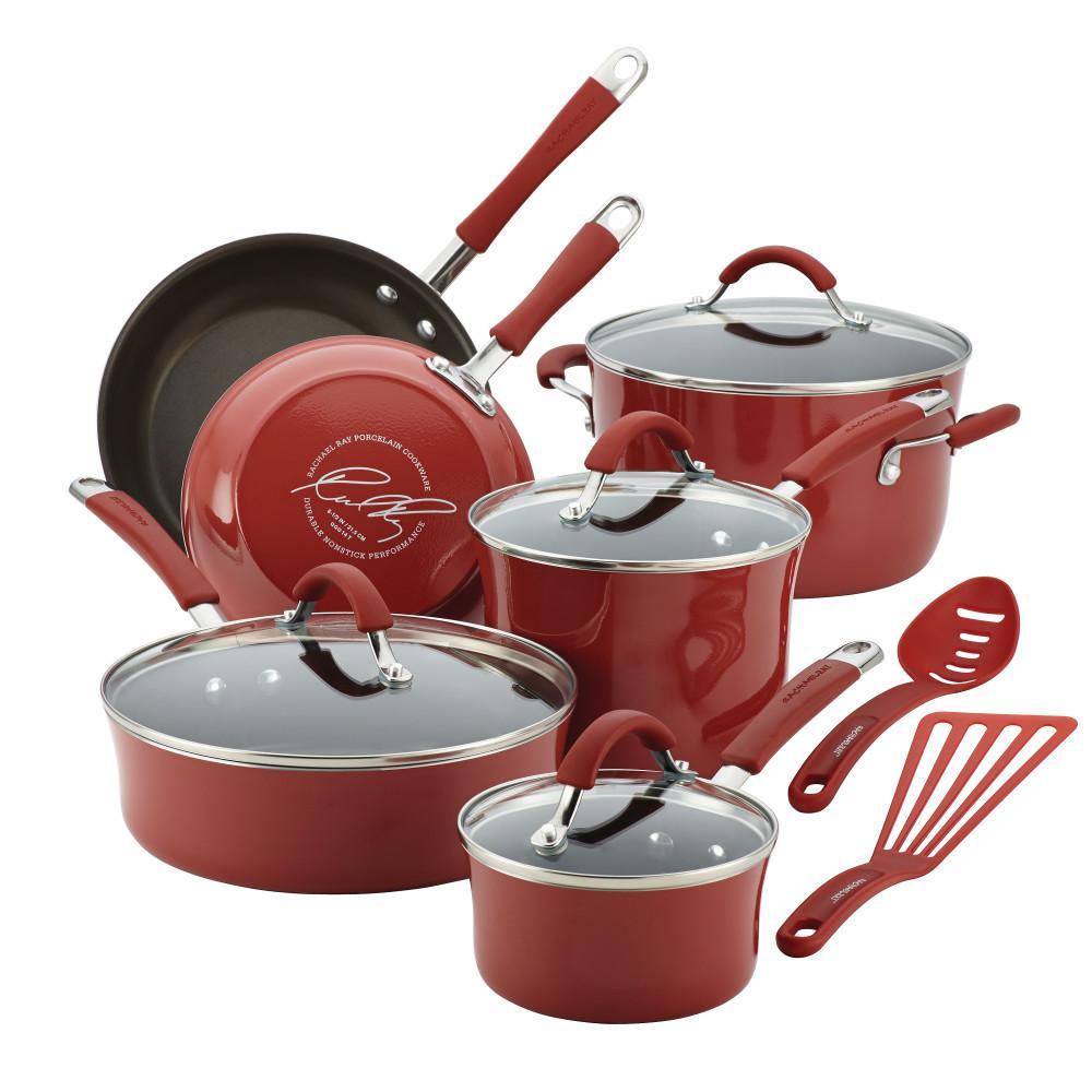 Rachael Ray Cucina 12 Piece Aluminum Nonstick Cookware Set In Cranberry Red 16339 The Home Depot