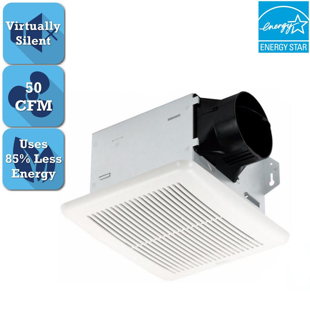 Hampton bay 50 cfm ceiling bathroom exhaust fan 7114 01 for 6 bathroom exhaust fan