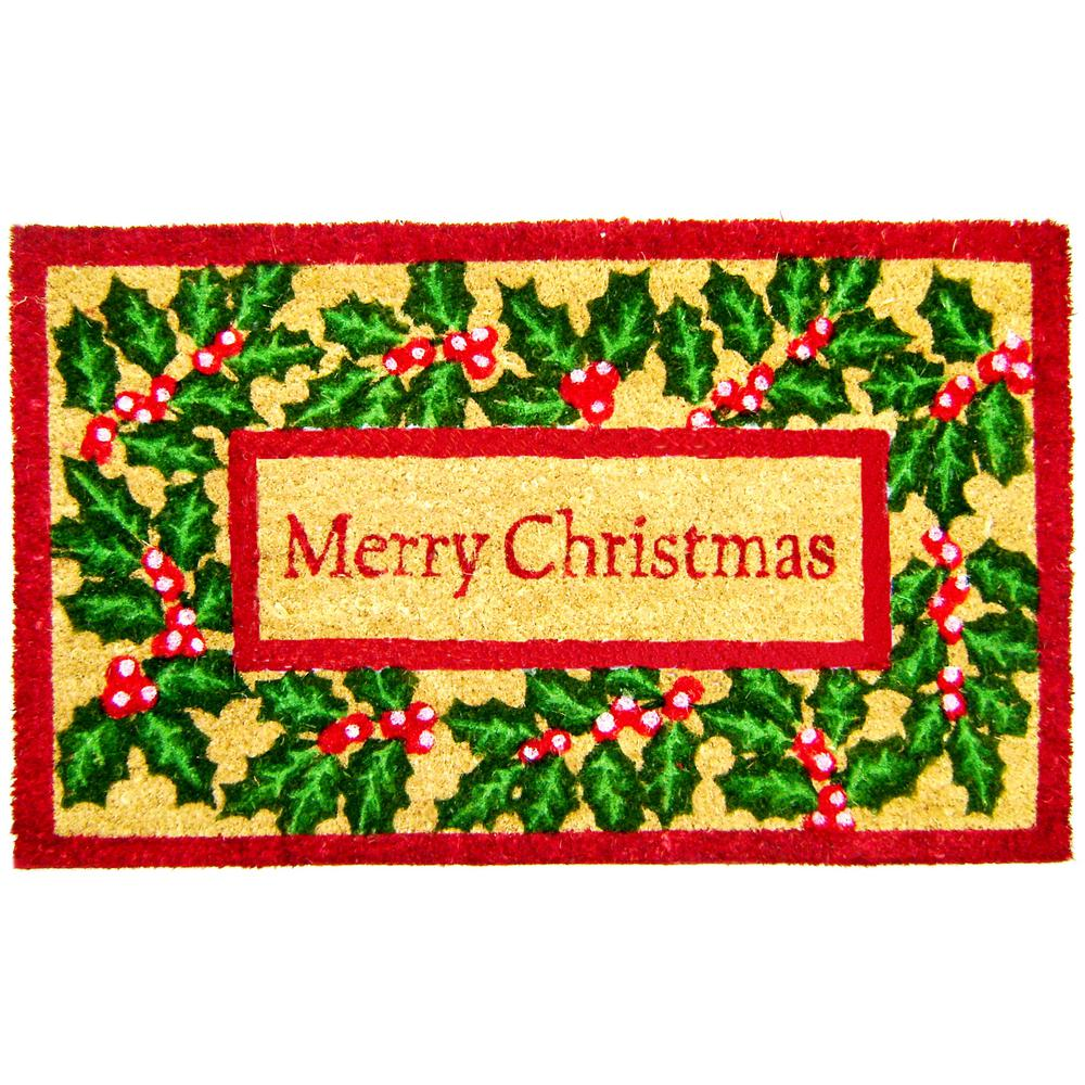 Christmas With Holly.Merry Christmas With Holly And Ivy 18 In X 30 Coir With Pvc Backing Doormat
