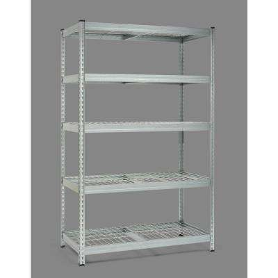 78 in. H x 48 in. W x 24 in. D Steel 5-Tier Steel Shelf -Wire Mesh Panels - Galvanised