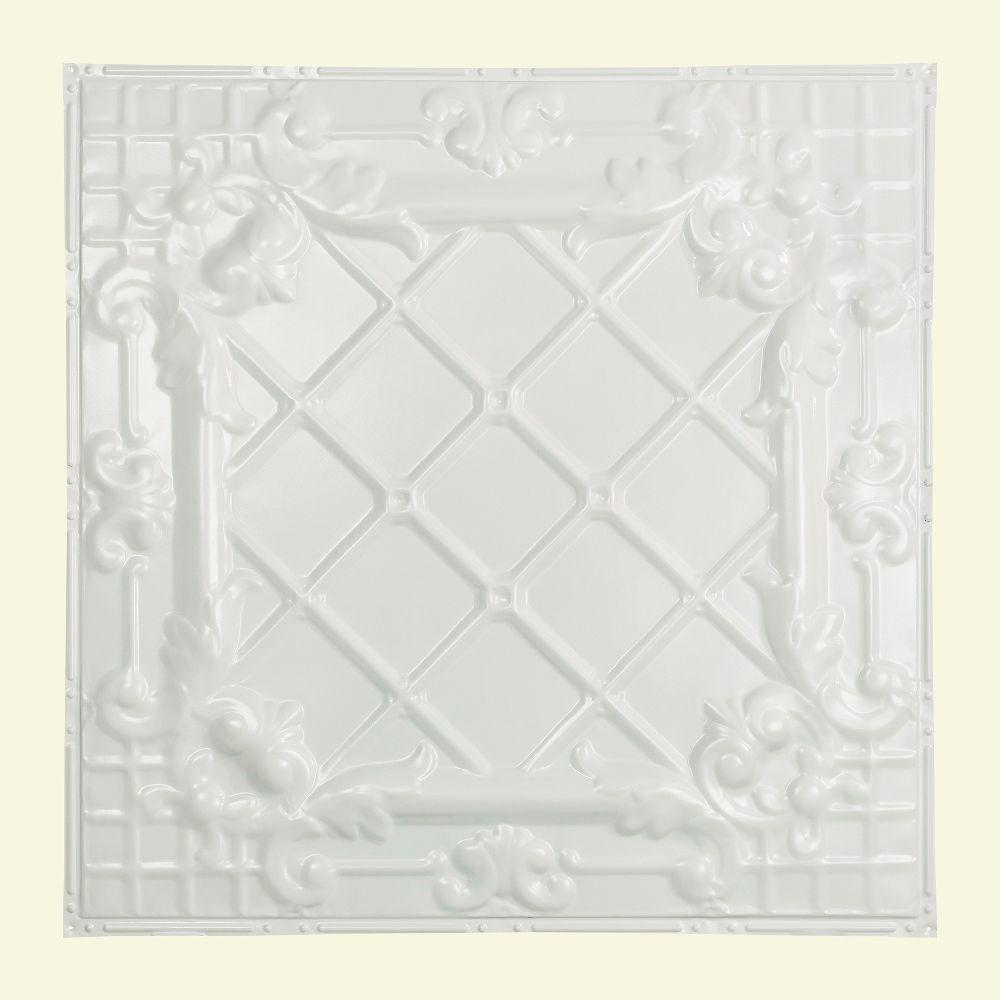 Toledo 2 ft. x 2 ft. Nail-up Tin Ceiling Tile in Matte White