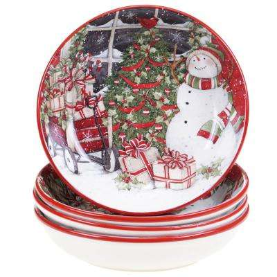 Snowman's Sleigh Red 9.25 in. Soup and Pasta Bowl (Set of 4)