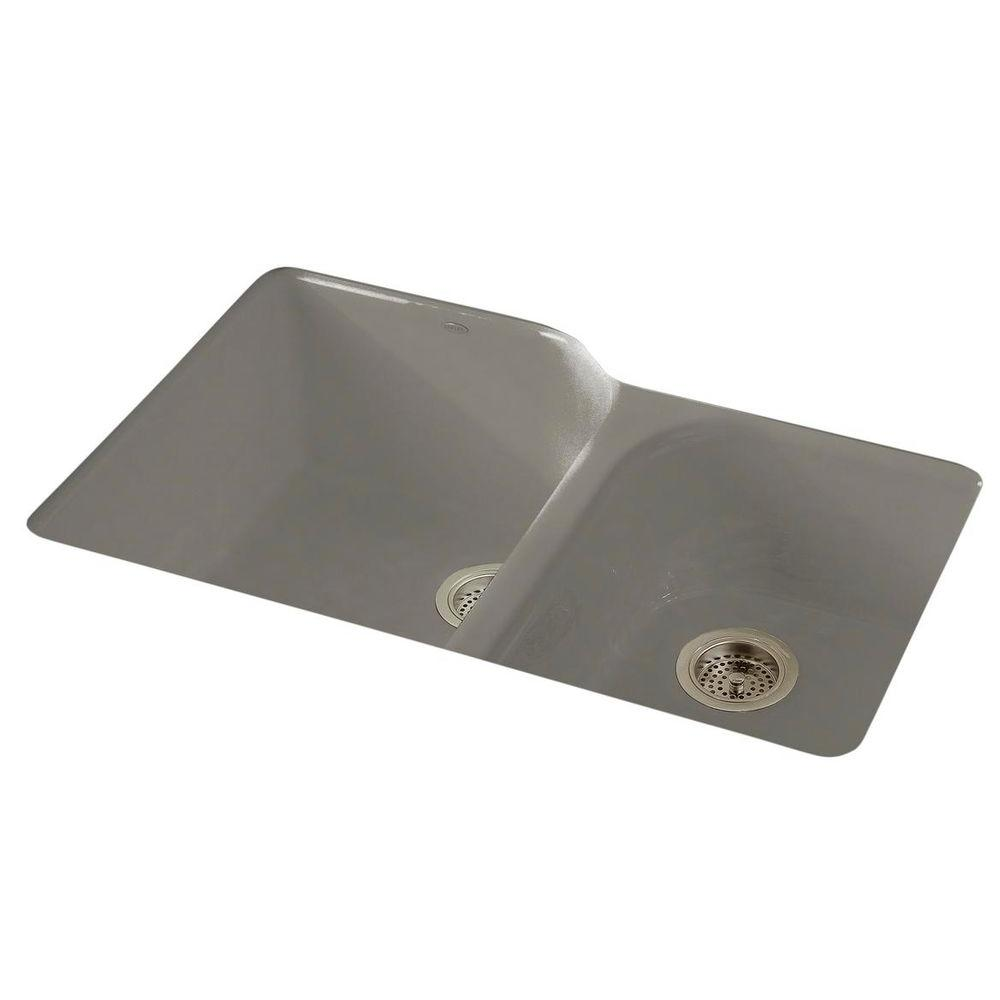 Kohler Executive Chef Undermount Cast Iron 33 In 4 Hole Double Bowl Kitchen Sink In Cashmere