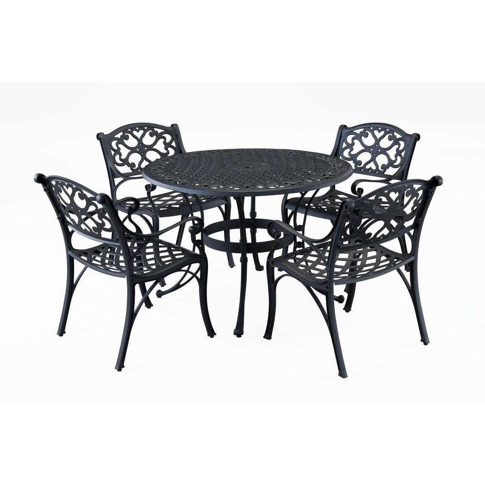 Home Styles Biscayne 42 in. Black 5-Piece Round Patio Dining Set ...