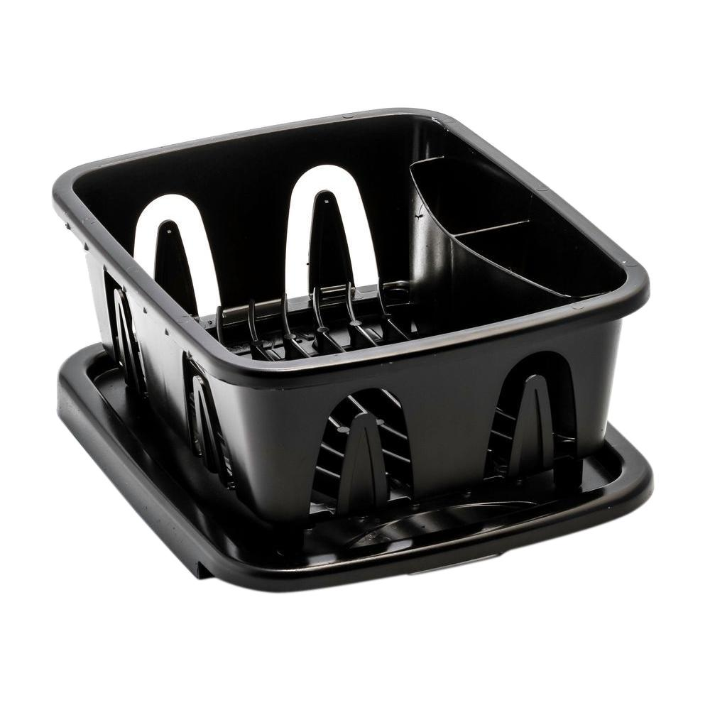 Mini Dish Drainer and Tray, Black