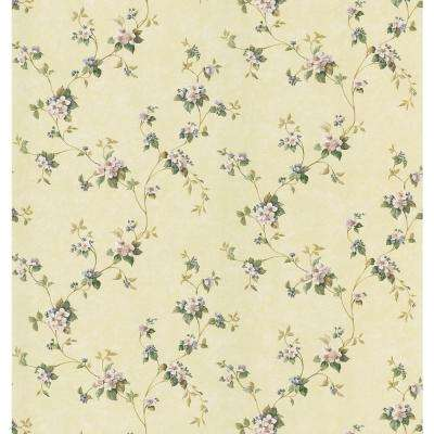Kitchen and Bath Resource II Yellow Apple Blossom Trail Wallpaper Sample