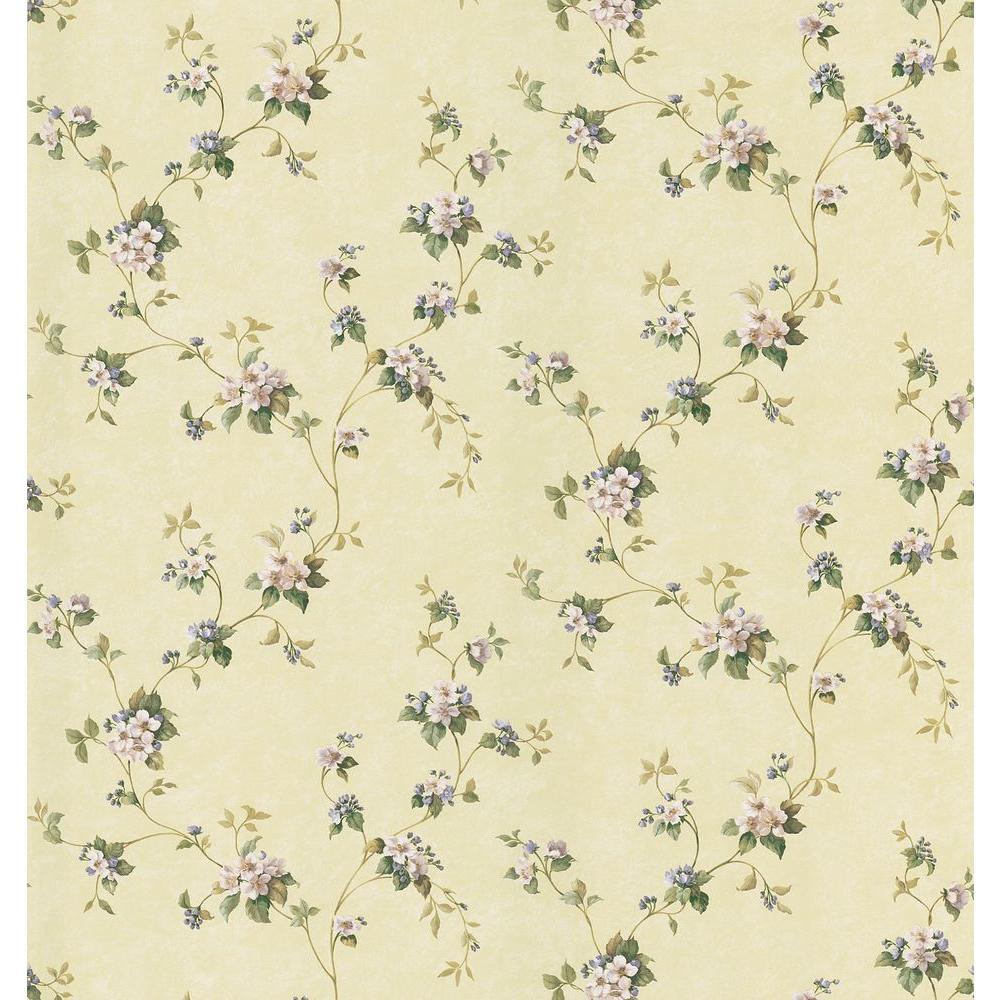 Kitchen and Bath Resource II Yellow Apple Blossom Trail Wallpaper Sample