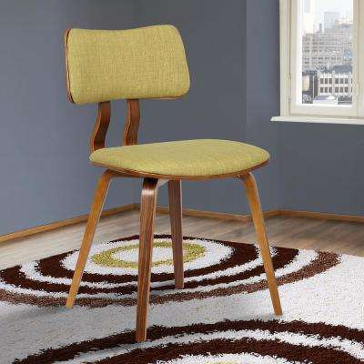 Jaguar 29 in. Green Fabric and Walnut Wood Finish Mid-Century Dining Chair