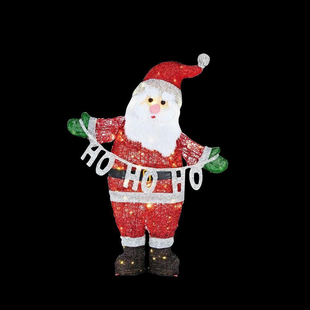 """37 in. LED Lighted Acrylic Santa with """"HO HO HO"""" Sign"""