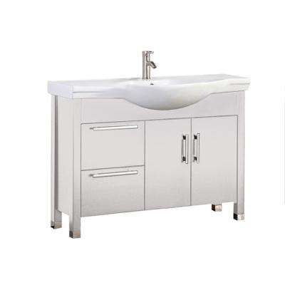 Pau 40 in. W x 19 in. D x 36 in. H Bath Vanity in White with Ceramic Vanity Top in White with White Basin