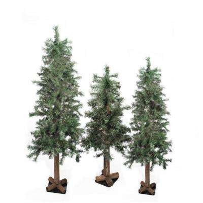 3 ft., 4 ft. and 5 ft. Unlit Woodland Alpine Artificial Christmas Trees (3-Set)