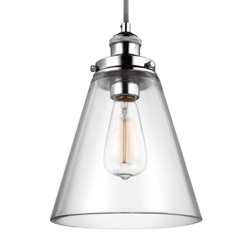 Feiss Baskin. 1-Light Polished Nickel Pendant
