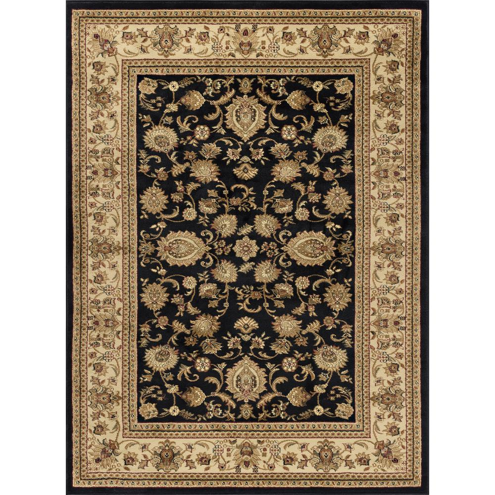 Tayse Rugs Sensation Black 5 ft. 3 in. x 7 ft. 3 in. Traditional Area Rug