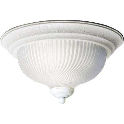 11.75 in. Swirled Glass Collection Textured White 2-Light LED Flushmount