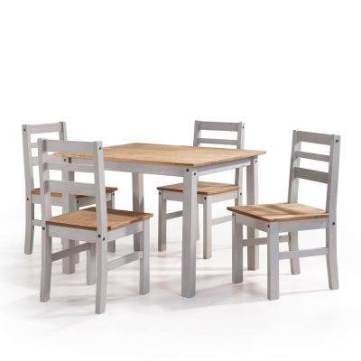 Maiden 5-Piece Gray Wash Solid Wood Dining Set with 1-Table and 4-Chairs