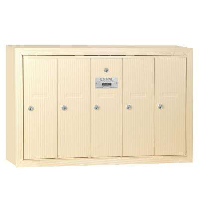 Sandstone Surface-Mounted USPS Access Vertical Mailbox with 5 Doors