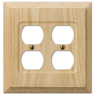 Cabin 2 Gang Duplex Wood Wall Plate - Unfinished