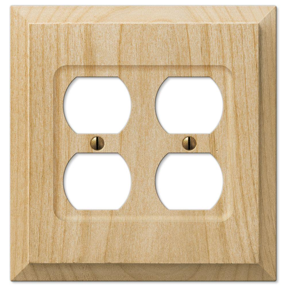 Hampton Bay 2 Duplex Wall Plate - Un-Finished Wood-180DD - The Home ...