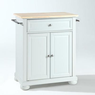 Alexandria White Kitchen Island with Wood Top