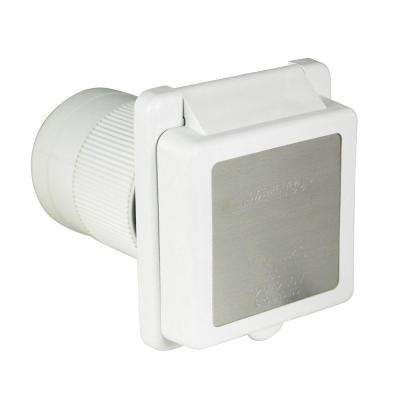 50 Amp Inlet with Stainless Steel Trim, White
