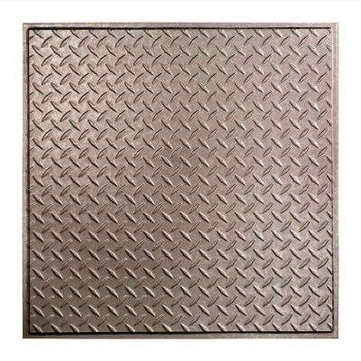 Diamond Plate - 2 ft. x 2 ft. Revealed Edge Vinyl Lay-In Ceiling Tile in Galvanized Steel