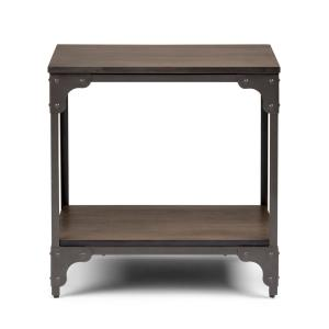 Nantucket Solid Mango Wood and Metal 21 in. Wide Square Modern Industrial End Side Table in Walnut Brown