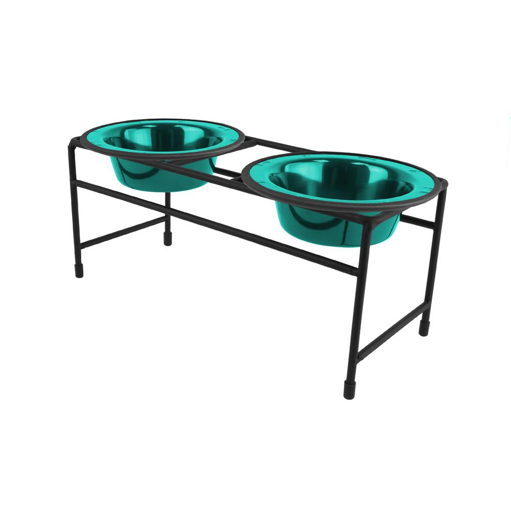 1.25 Cup Modern Double Diner Feeder with Dog/Cat Bowls, Caribbean Teal