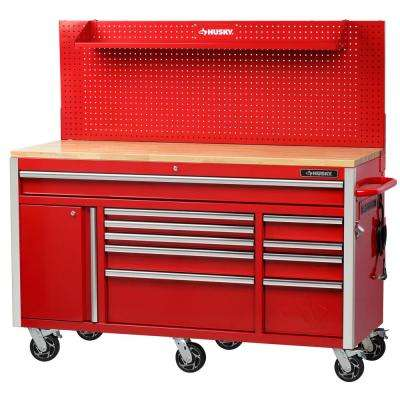 61 in. W 23 in. D 10-Drawer 1-Door Mobile Workbench with Solid Wood Top and Flip-Up Pegboard in Red