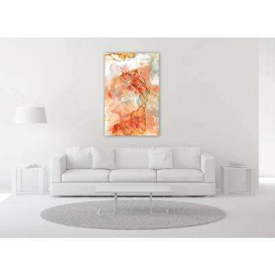 "48 in. x 32 in. ""Coral Lace 1"" Frameless Free Floating Tempered Glass Panel Graphic Art Wall Art"