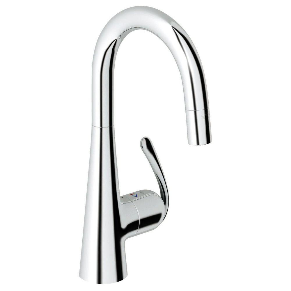 Ladylux 3 Pro Single-Handle Pull-Down Sprayer Kitchen Faucet in Starlight Chrome