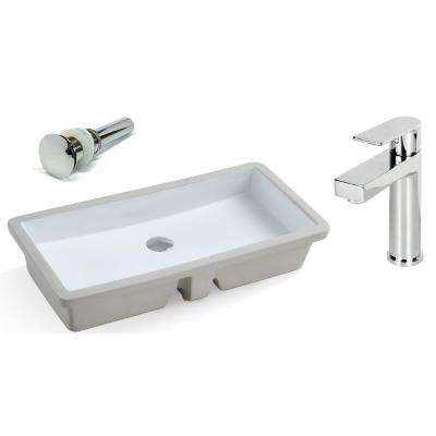 27-13/16 in. Rectangle Undermount Ceramic Vessel Sink in Pure White