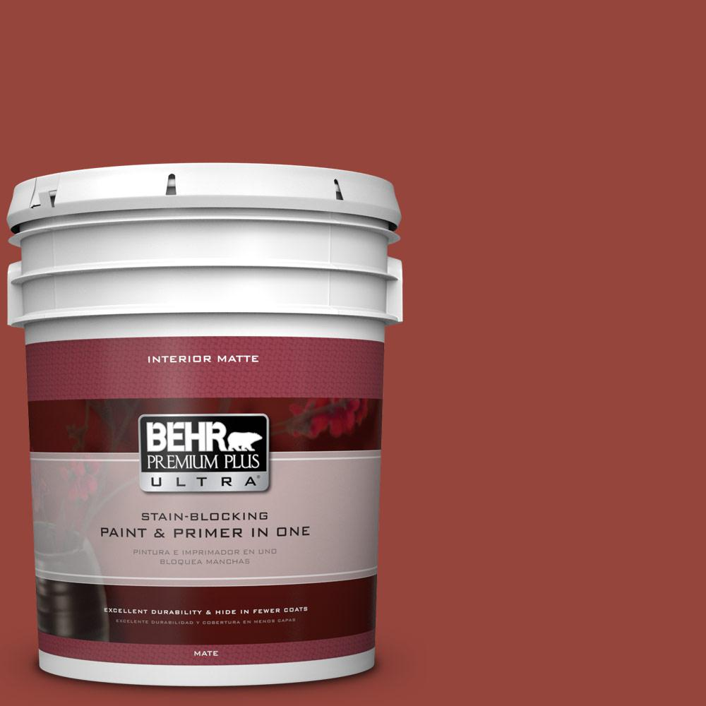 BEHR Premium Plus Ultra 5 gal. #PPU2-17 Morocco Red Flat/Matte Interior Paint