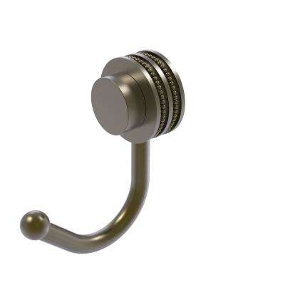 Venus Collection Robe Hook with Dotted Accents in Antique Brass