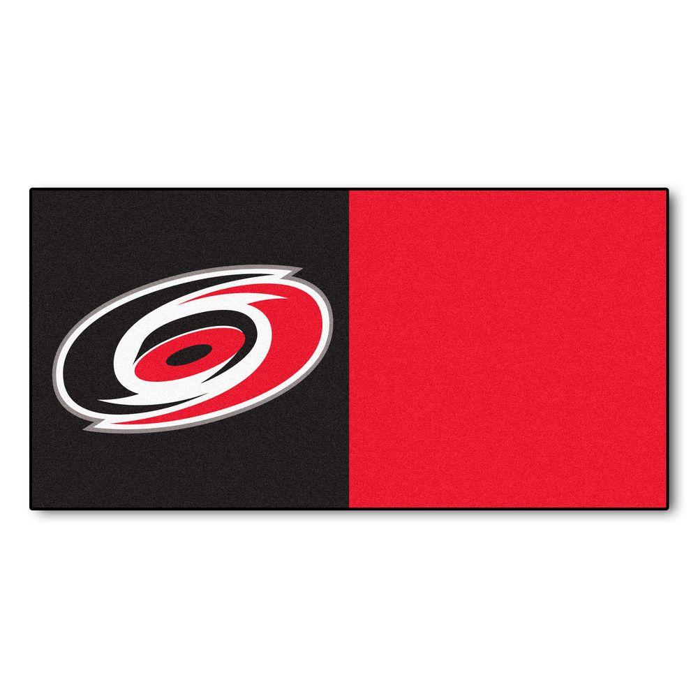 FANMATS NHL - Carolina Hurricanes Black and Red Pattern 18 in. x 18 in. Carpet Tile (20 Tiles/Case)