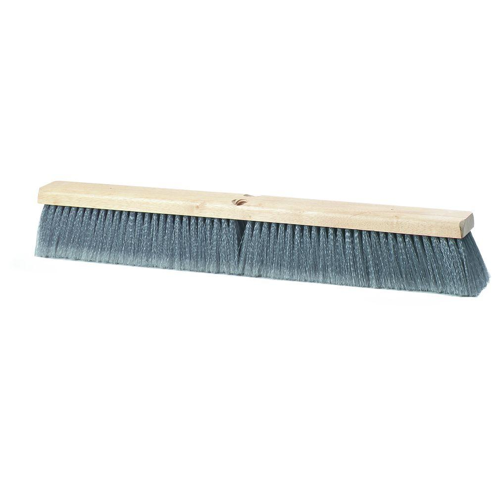 36 in. Flagged Polypropylene Bristled Fine Floor Brush in Gray (6-Case)