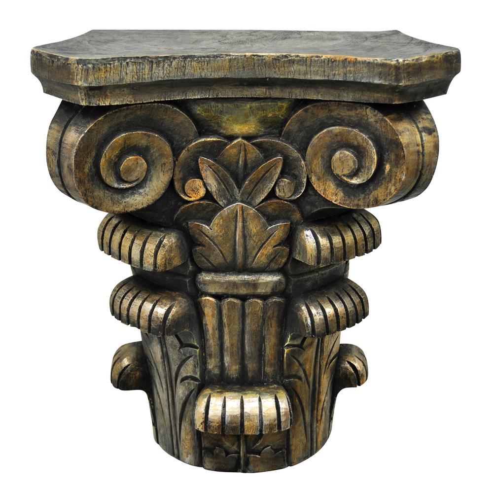 13.25 in. x 6.5 in. Decorative Bronze Resin Pedestal
