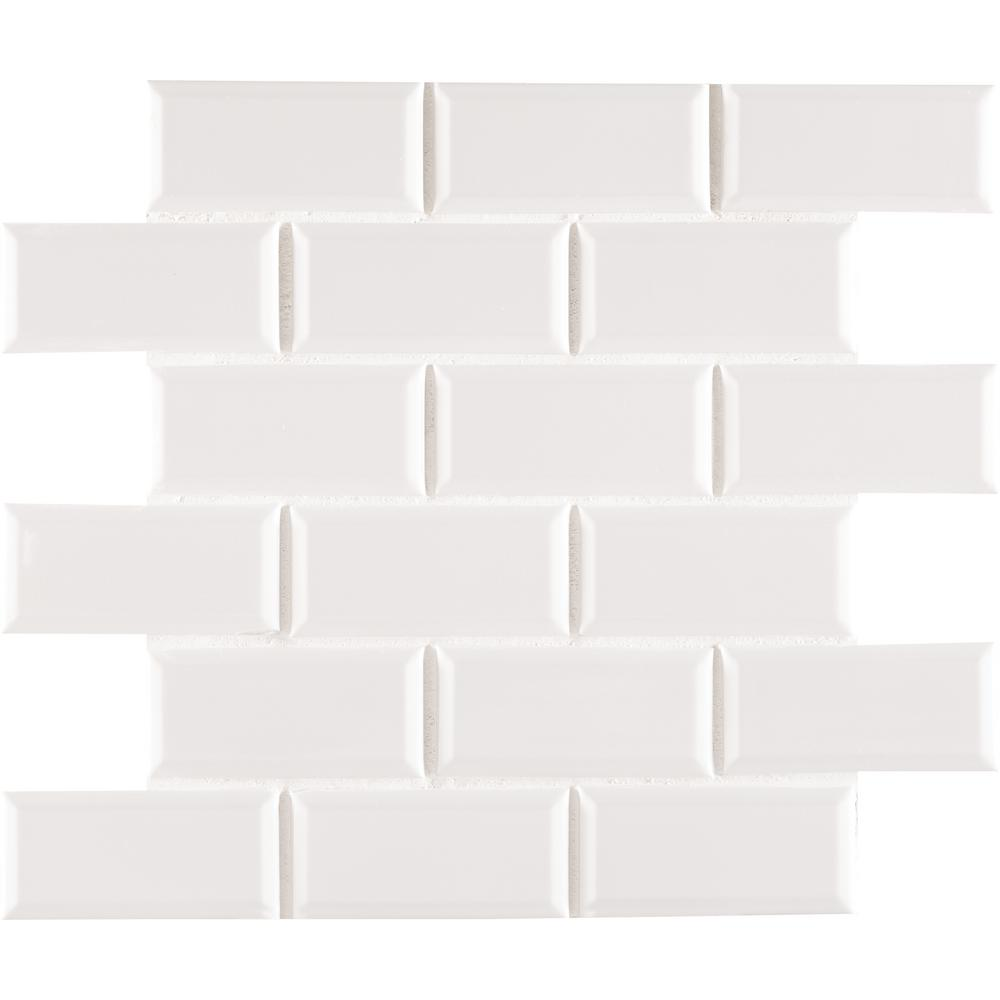 Msi White Glossy Staggered Beveled 12 In X 6mm Porcelain Mosaic