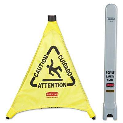 20 in. Yellow Multi-Lingual Caution Wet Floor Pop-Up Safety Cone