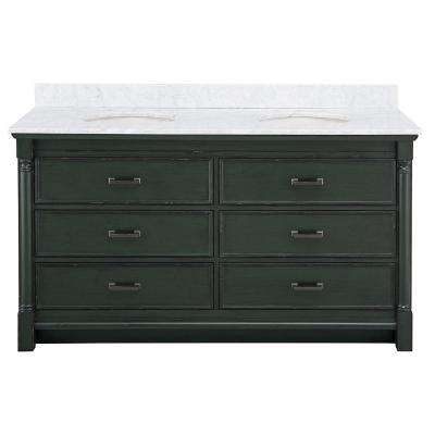 Greenbrook 61 in. W x 22 in. D Vanity Cabinet in Vintage Forest Green with Marble Vanity Top in Carrara White with Sink