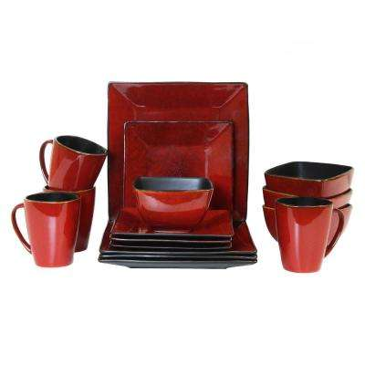 Harland Loft 16-Piece Red Dinnerware Set