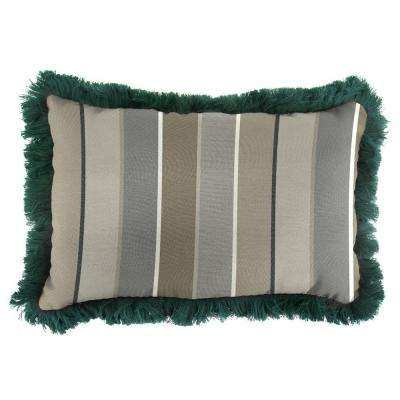 Sunbrella 19 in. x 12 in. Milano Charcoal Outdoor Throw Pillow with Forest Green Fringe