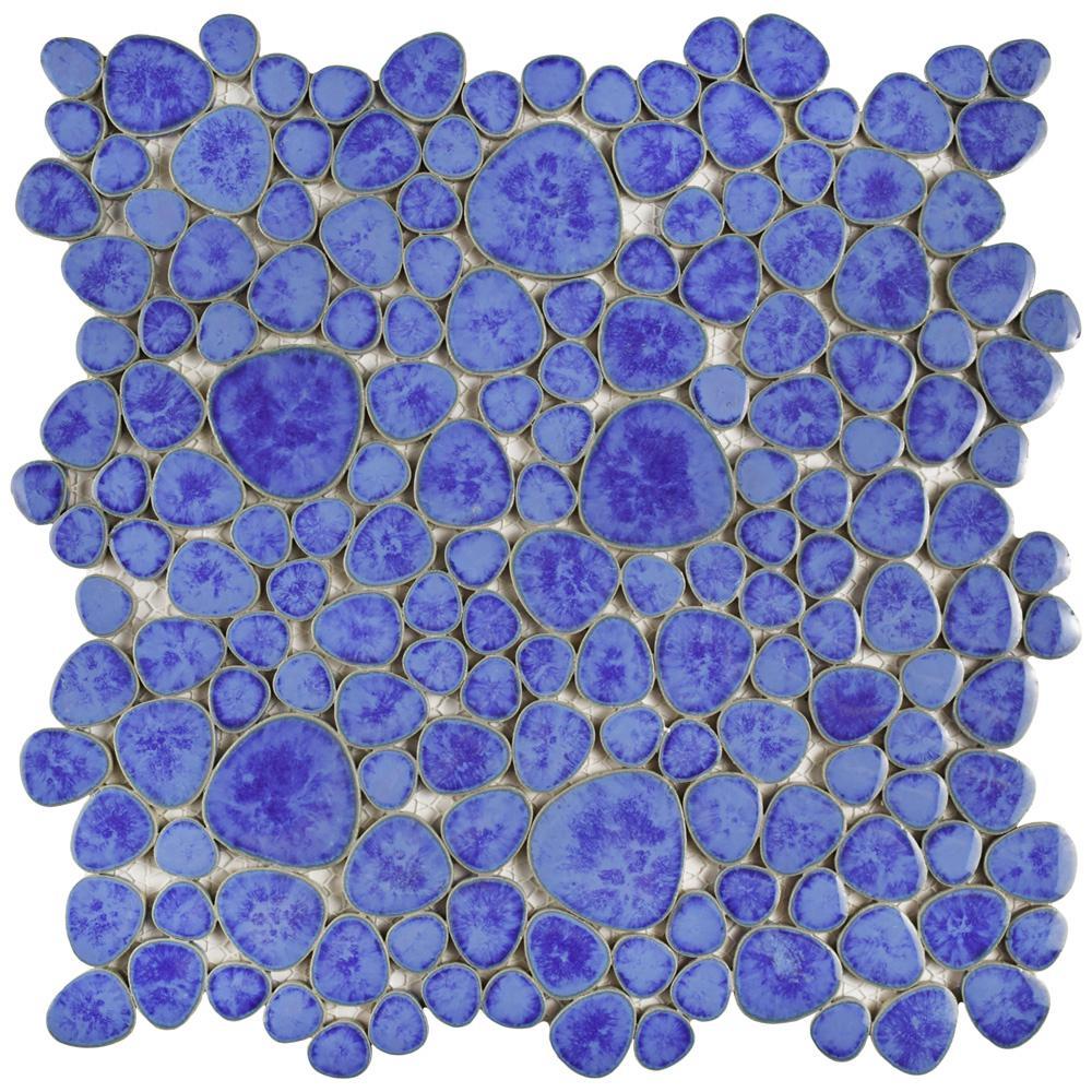 Pebble Blue Cloud 11 in. x 11 in. x 6 mm Porcelain Mosaic Tile (8.4 sq. ft. / case)