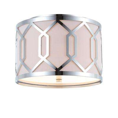 Hex 2-Light Chrome 12.5 in. Metal Flush Mount