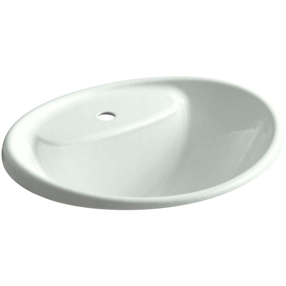 Kohler Tides Drop In Cast Iron Bathroom Sink Sea Salt With Overflow Drain