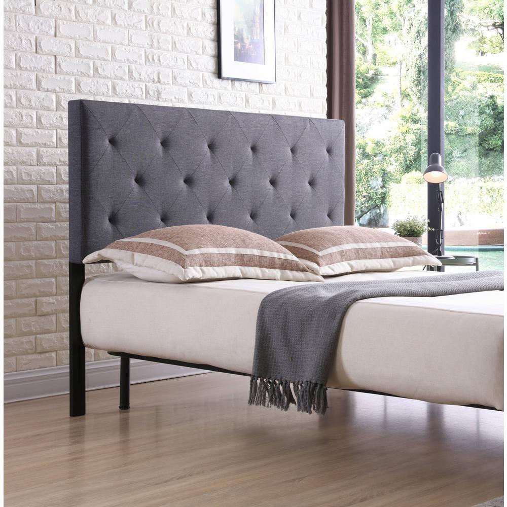 Hodedah Grey King Upholstered Tufted Rectangular Headboard